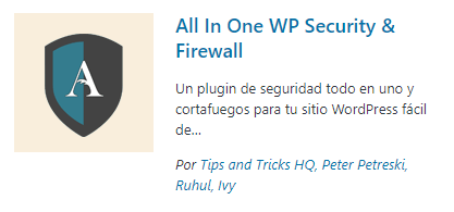 All in One Wp Security- plugins de seguridad
